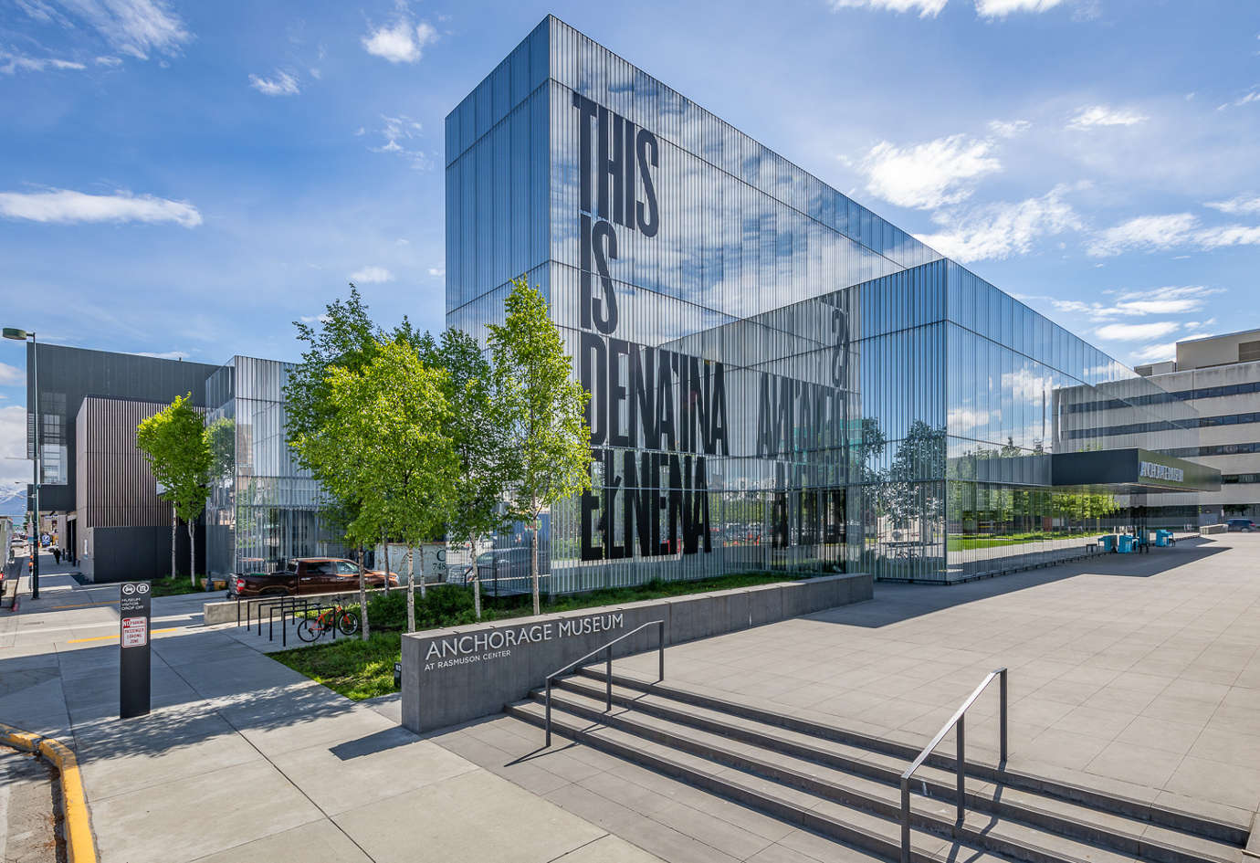 Indigenous land acknowledgment on Anchorage Museum facade. Photo courtesy of Anchorage Museum.