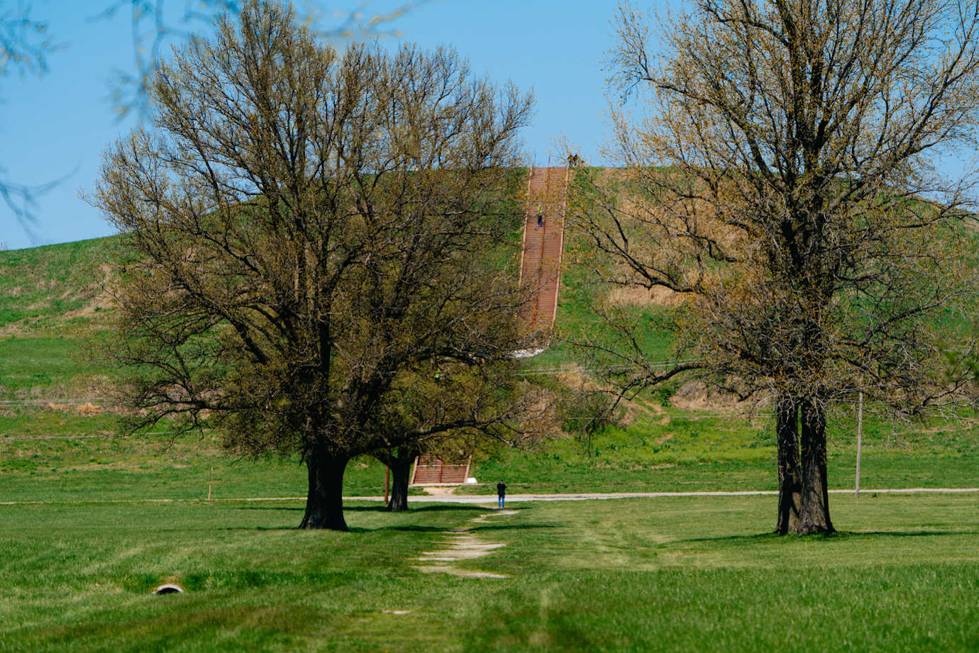 Monks Mound is the largest mound construction in the United States. Image courtesy of Cahokia Mounds Museum Society.
