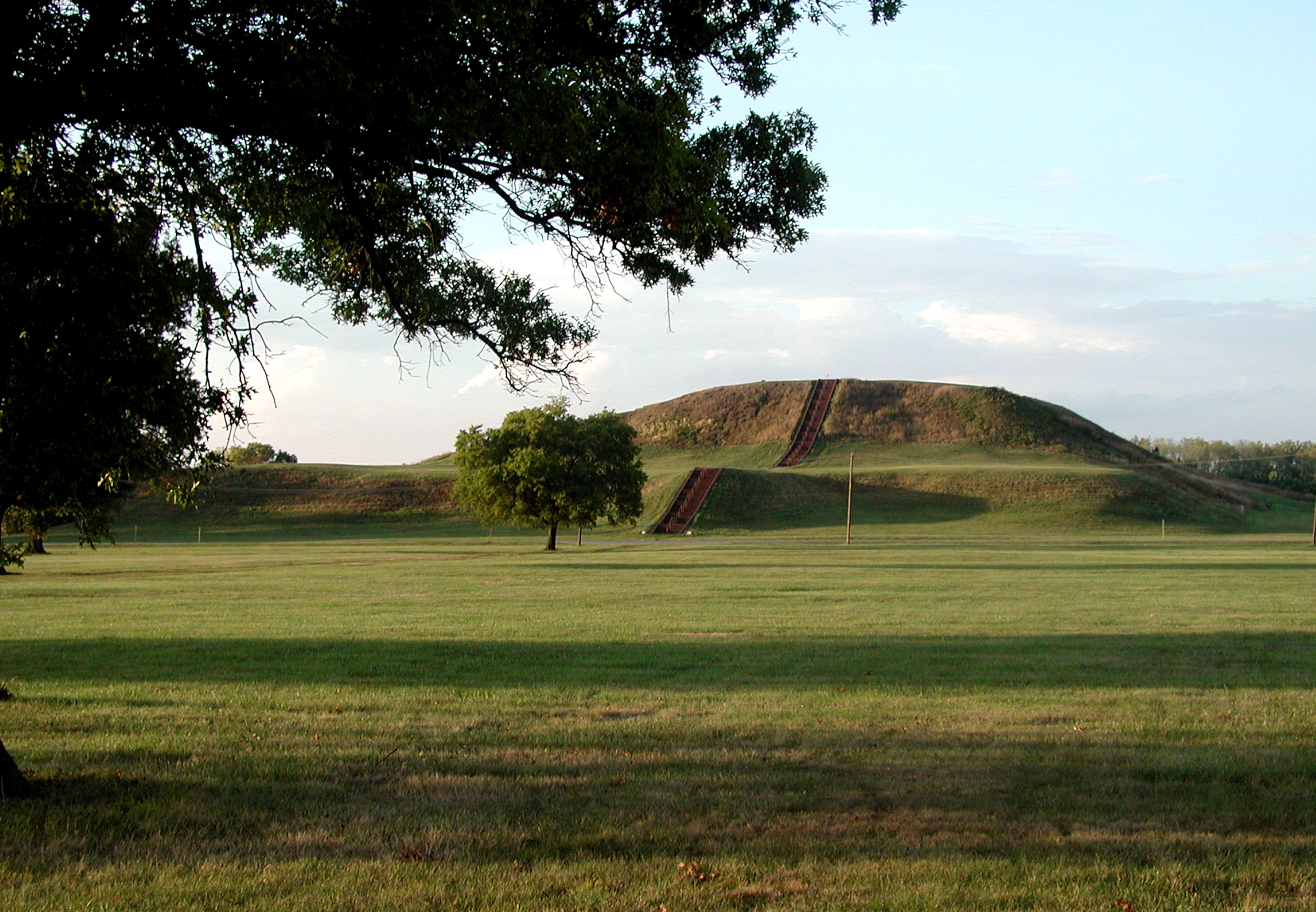 Monks Mound photographed from the the Grand Plaza. Image courtesy of the Cahokia Mounds Museum Society.