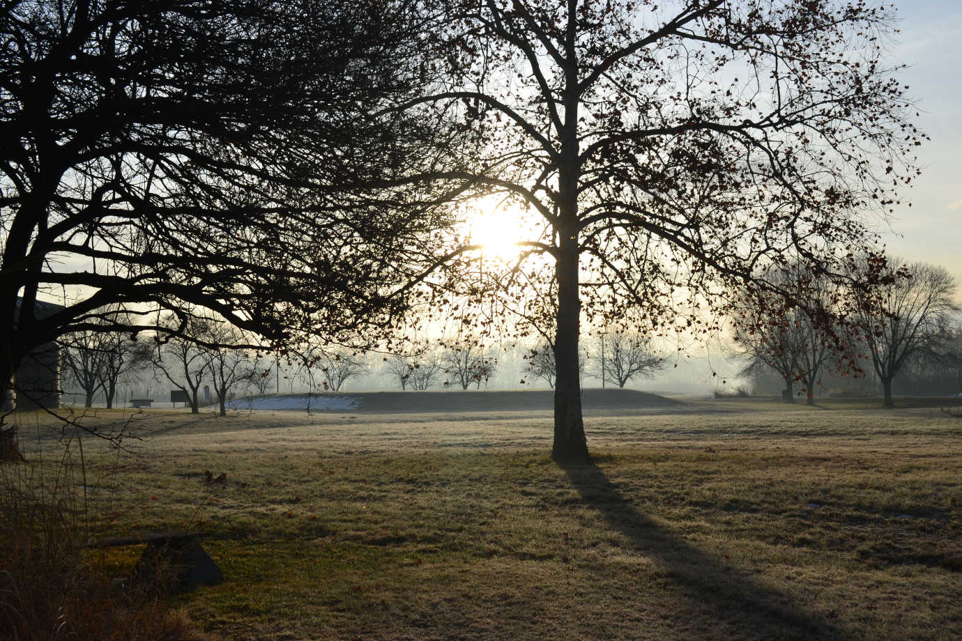 A view of the mounds at sunrise. Image courtesy of the Cahokia Mounds Museum Society.