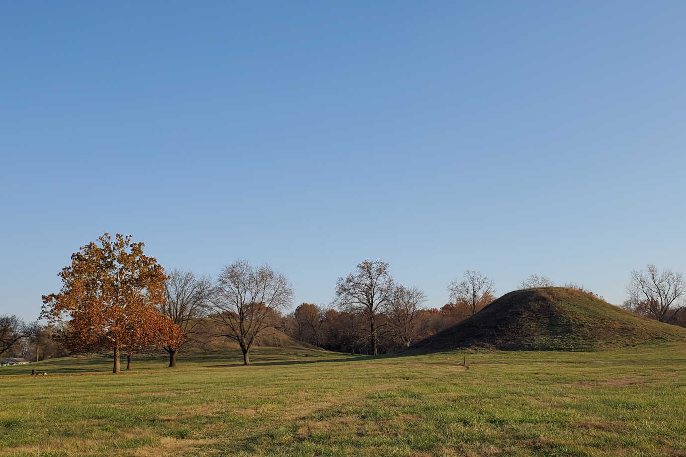 The twin mounds at Cahokia Mounds State Historic Site. Image courtesy of Cahokia Mounds Museum Society.
