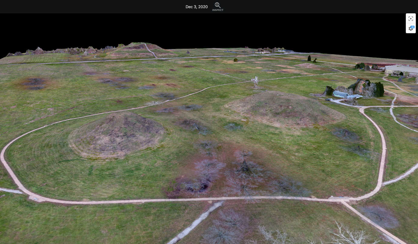 A 3D model of the Cahokia Mounds from drone footage preparing the AR application. Image courtesy of Cahokia Mounds Museum Society.