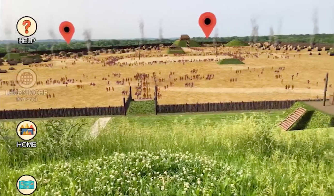 A prototype of the AR application in development. Image courtesy of Cahokia Mounds Museum Society.