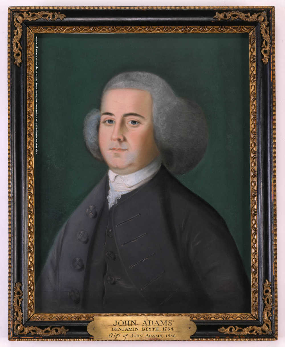 These pastel portraits of John and Abigail Adams (c.1766) were made by Benjamin Blyth of Salem. They are the earliest known likenesses of the couple. Image courtesy of the Massachusetts Historical Society.