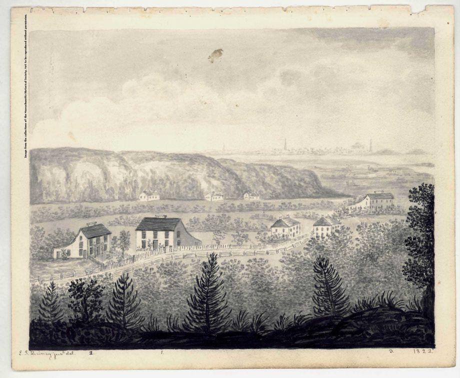 NEH funding has helped the Massachusetts Historical Society digitize the Adams Family's collected papers. In 1822, Eliza Susan Quincy painted this watercolor of the birthplaces of John and John Quincy Adams in Quincy, Mass. from the vantage point of Penn's Hill. Image courtesy of the Massachusetts Historical Society.