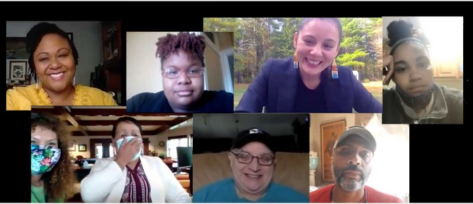Pequot Community Scholars from NNRC's NEH CARES Grant program. Scholars met virtually in light of COVID-19 physical distancing restrictions. Image courtesy of NNRC.