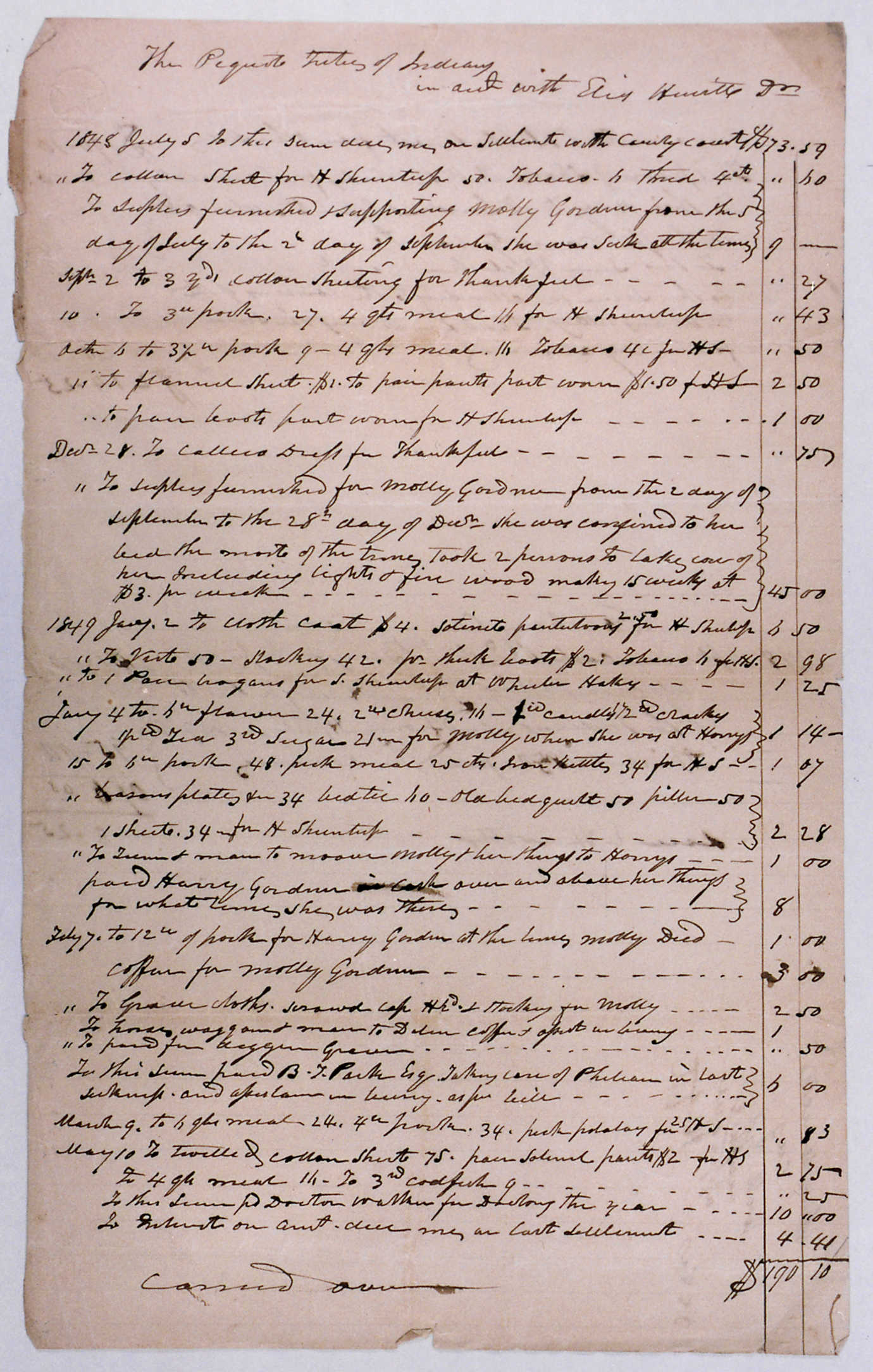 An example of NNRC's documentation, this document is an Eastern Pequot overseer account from July 5, 1848 to May 5, 1849. Image courtesy of NNRC.