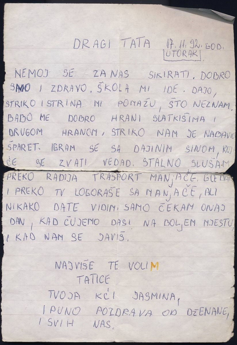 A daughter's letter to a Bosnian concentration camp inmate, now preserved in the Center's archive. Image courtesy Center for Bosnian Studies.