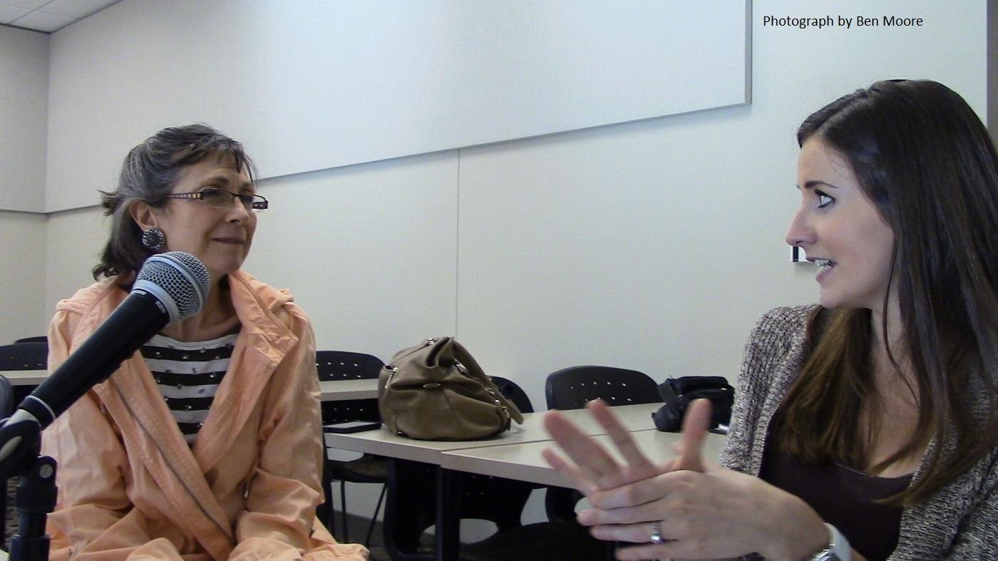 A volunteer interviews a second-generation Bosnian-American. Image courtesy Center for Bosnian Studies.