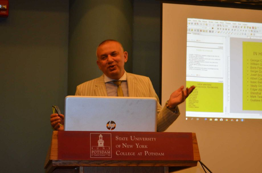 NEH Distinguished Professor, Dr. Boris Lanin, delivers a lecture on literature in Post-Soviet Russia. Image courtesy of the State University of New York, Potsdam.