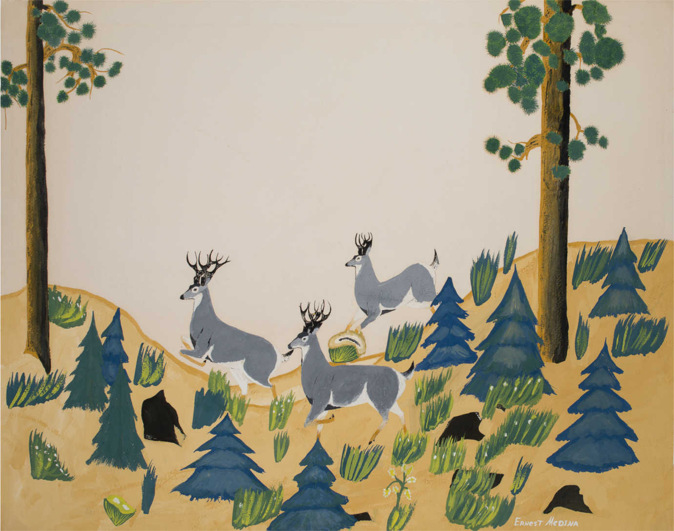 """Ernest Medina's (Zia Pueblo) """"Forest,"""" a student painting made at age 15 at Santa Fe Indian School, 1950. Gift of James T. Bialac. 4456-4"""