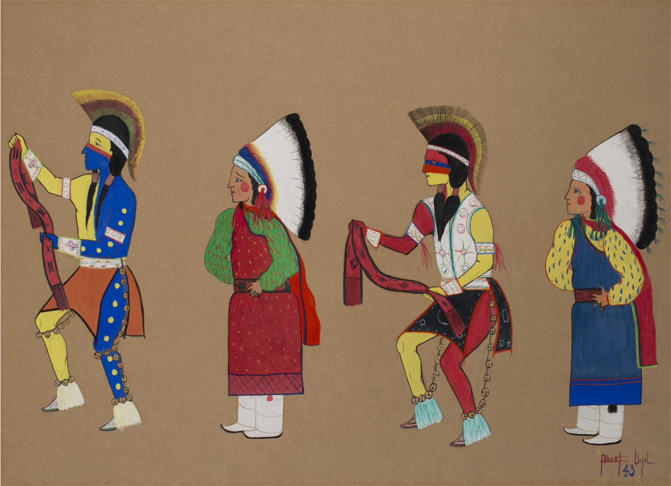 """The Heard Museum has selected new works of art for the updated exhibit, *Away From Home: American Indian Boarding School Stories*. These have been acquired since *Remembering Our Indian School Days: The Boarding School Experience* opened in 2000. Among these is Albert Vigil's (San ildefonso Pueblo) """"Belt Dancer,"""" a student painting made at age 16 at Santa Fe Indian School, 1943. Gift of Duane and Jean Humilickek. 4460-14. Image courtesy of the Heard Museum."""