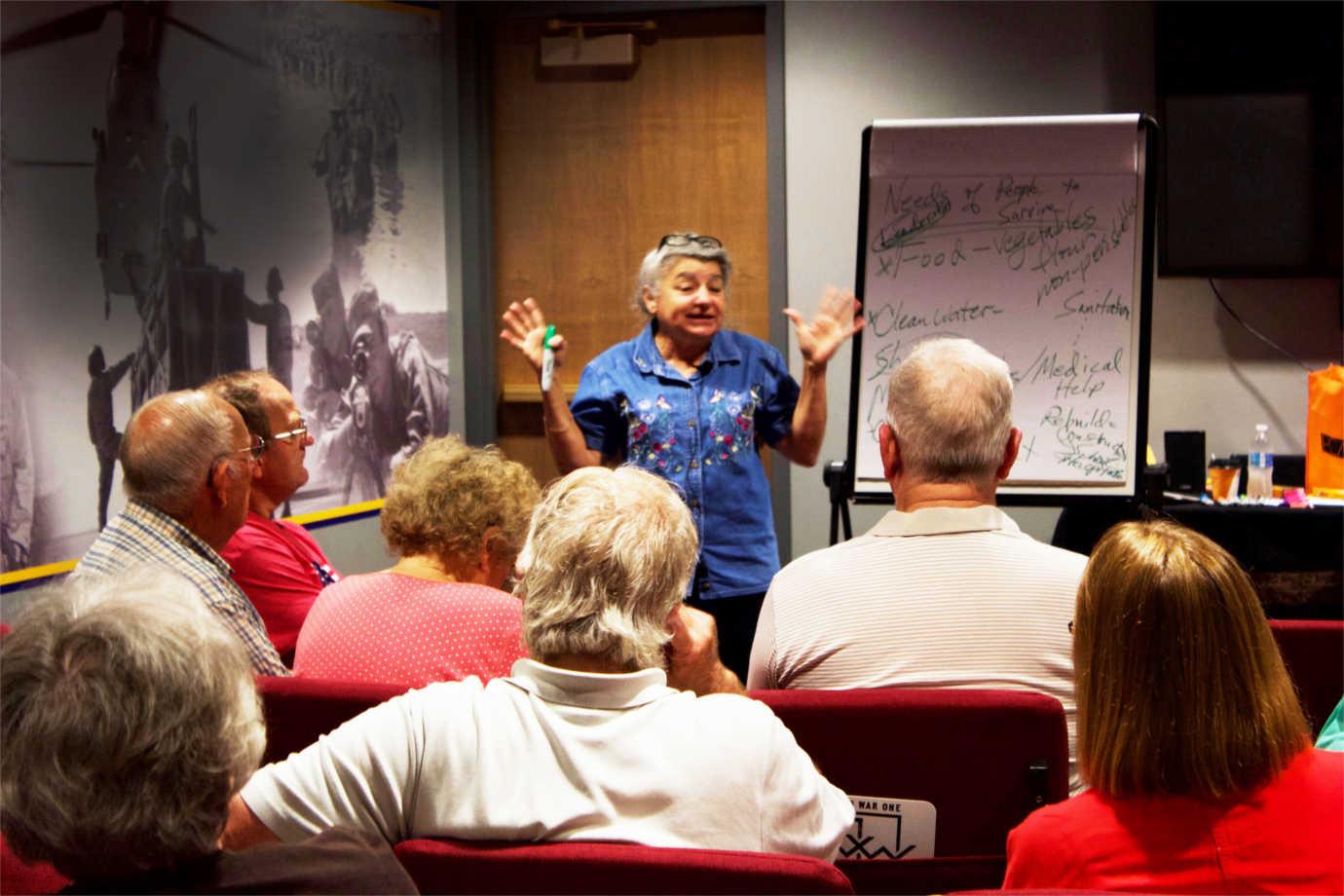 Chautauqua scholar Helen Lewis discusses food and medicine during World War I. Image courtesy of Humanities Nebraska.