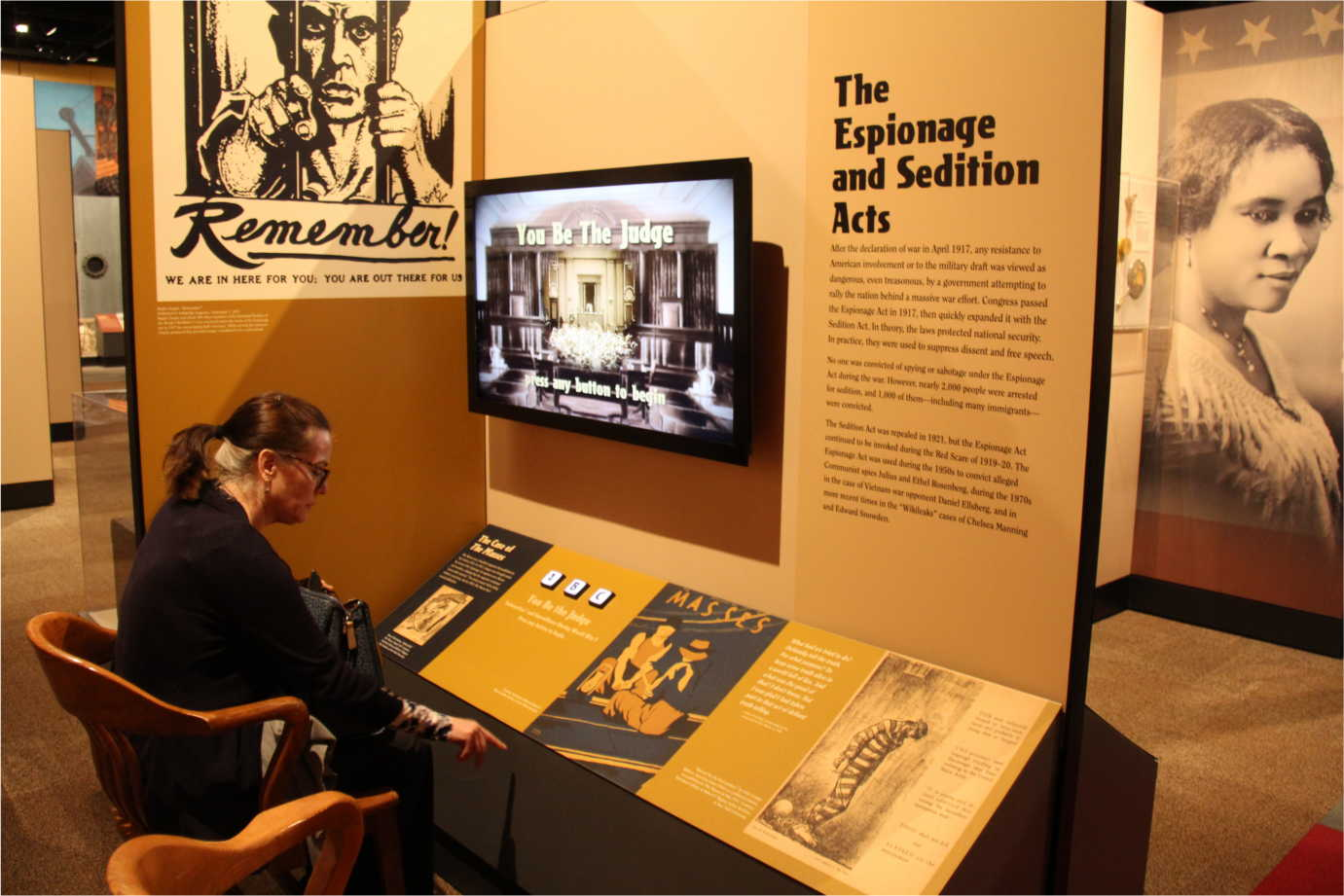 An exhibit interpreting the Espionage and Sedition Acts during World War I. Image courtesy of the Minnesota Historical Society.
