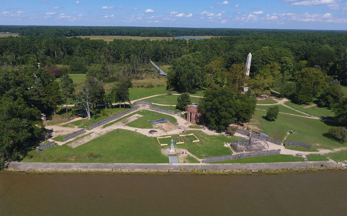 An aerial view of historic James Fort. Image courtesy of Jamestown Rediscovery.