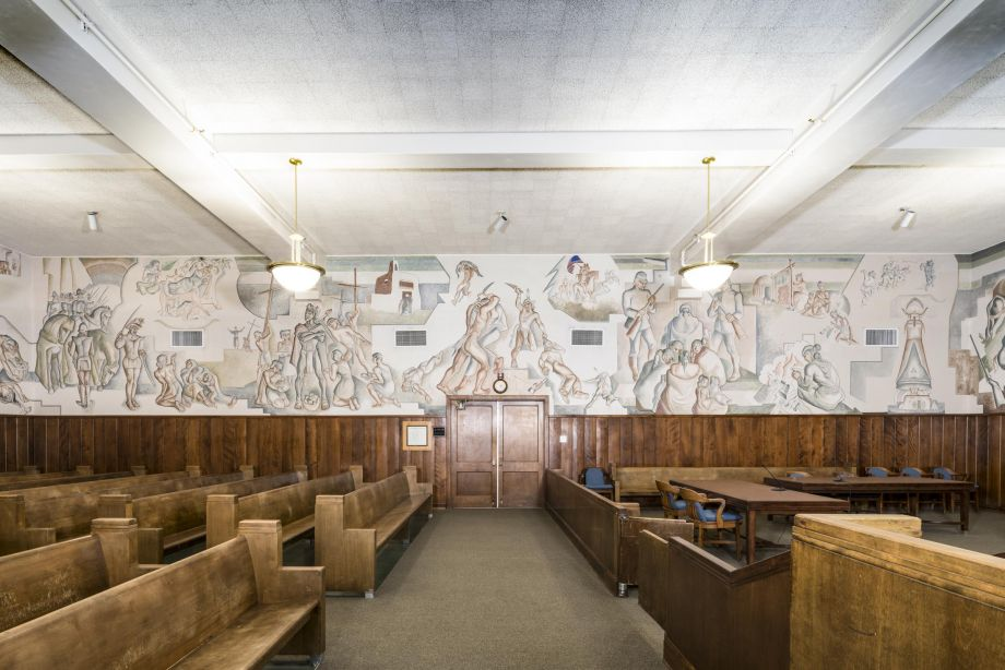The mural *Allegory*, by Lloyd Moylan, is part of Gallup's New Deal Art Collection. Photo courtesy gallupARTS