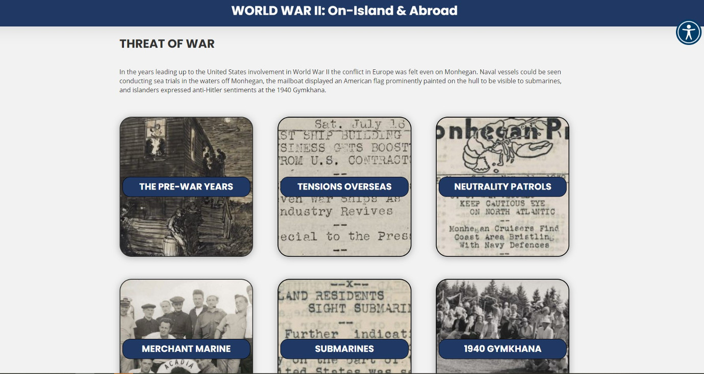 The virtual exhibition takes a chronological approach to World War II. Image courtesy of the Monhegan Museum.