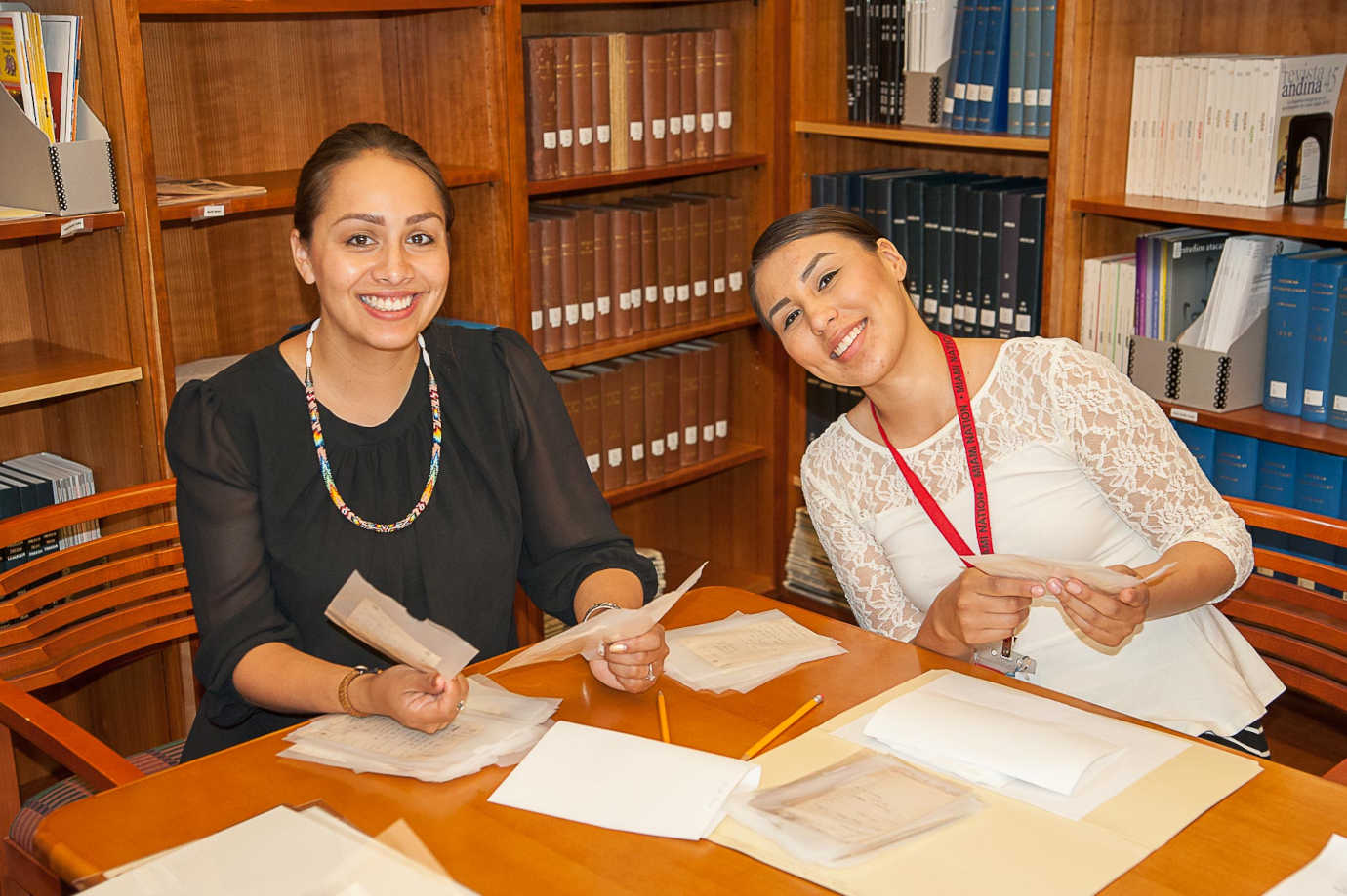 Oneida Tribe participants working in their language archives at National Anthropological Archives during National Breath of Life Archival Institute Module 1, Suitland, MA. 2015. Photo Credit:  Karen L. Baldwin