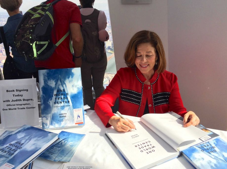 A sky-high book signing at the Observatory at the very top of One World Trade Center. Image courtesy of Judith Dupré.
