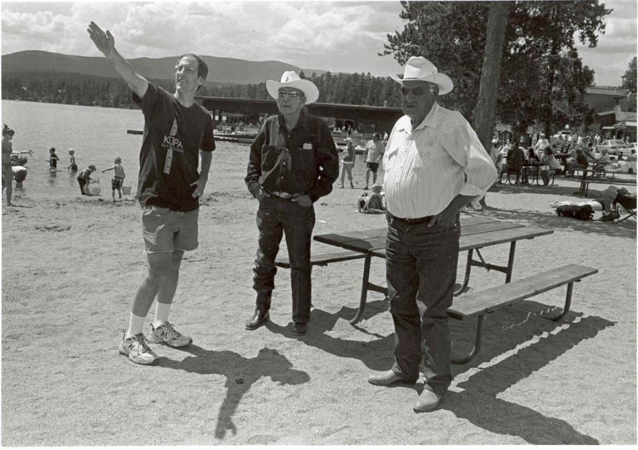Andrew Cowell talks with Arapaho speakers Alonzo Moss, Sr. and Edward Willow about an Arapaho place name near Grand Lake, CO. Including place names in the database has been a key part of the project. Photo by Sara Wiles, Lander, WY.