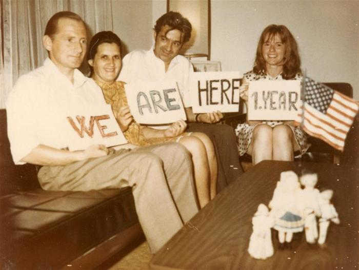 A photo from the NCSML archives of a Czech family celebrating the anniversary of their immigration to the United States. Photo courtesy of NCSML.