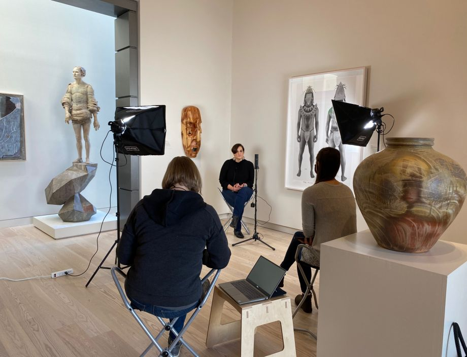 Asheville Art Museum staff interview Annette Saunooke Clapsaddle, Eastern Band of Cherokee Indians author, historian, and educator, for its NEH CARES-funded multimedia guide. Image M. Paige Taylor, courtesy Asheville Art Museum.