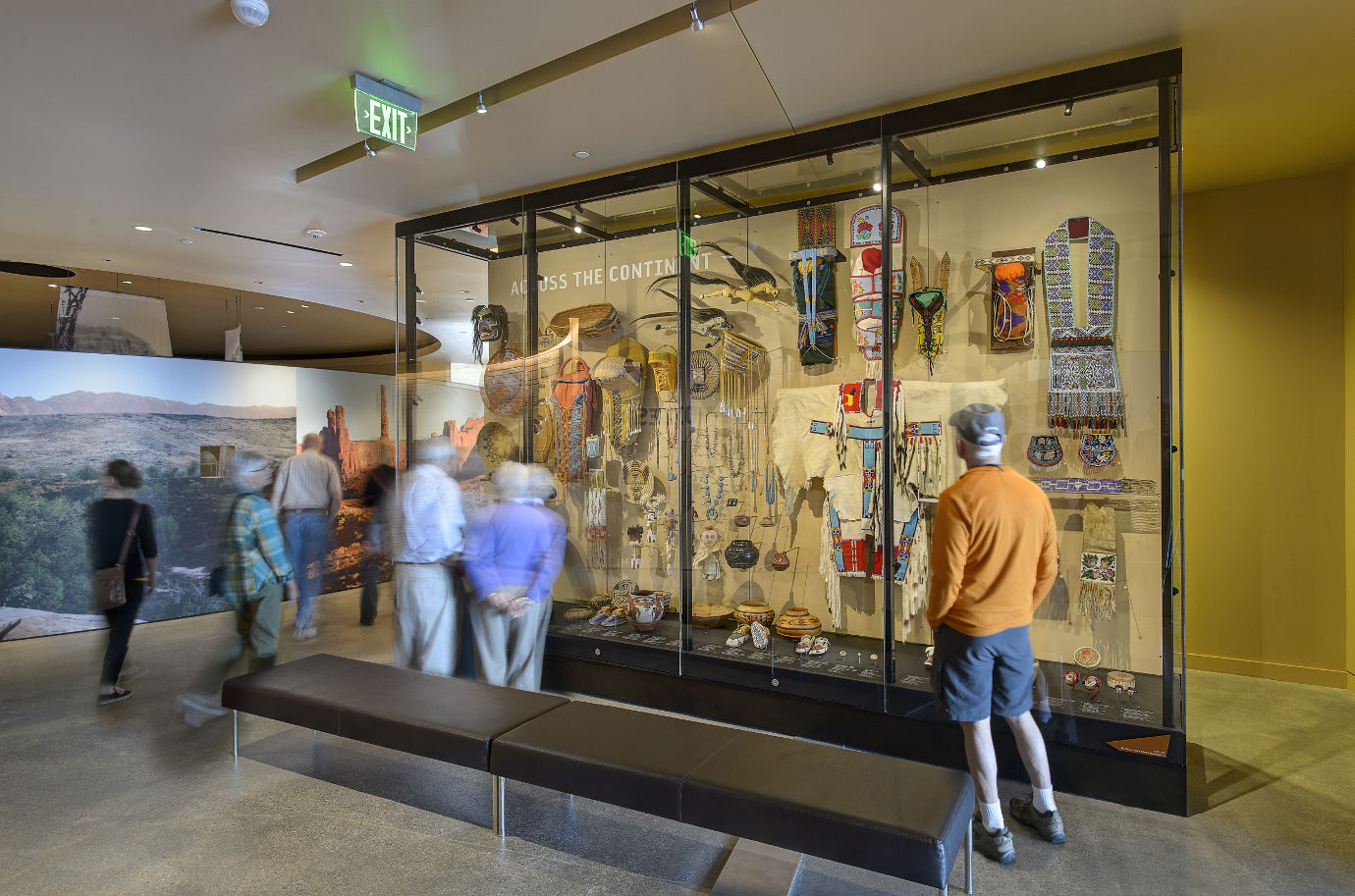 Guests view an exhibit in *Native Voices.* Image courtesy of the Natural History Museum of Utah.