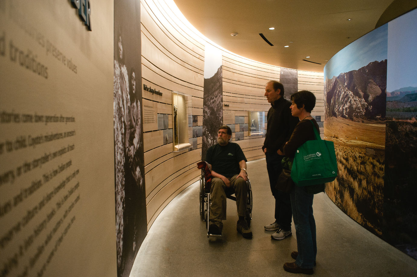 Visitors explore the *Native Voices* exhibition.  *Native Voices* grew out of the museum's desire to display its ethnographic collections and its need to accurately represent Utah's native peoples and their histories. Image courtesy of the Natural History Museum of Utah.