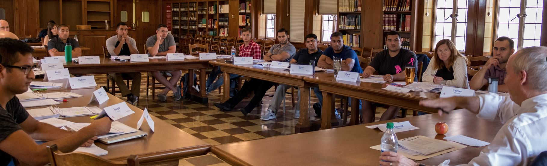 The Warrior-Scholar project gives veterans the opportunity to study texts and ideas that are foundational to democracy.  Here, veterans discuss the Declaration of Independence. Image courtesy of the Warrior-Scholar Project.