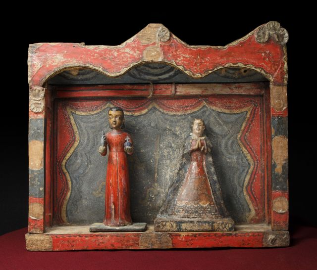 Pedro Antonio Fresquís (aka Truchas Master), Our Lady of St. John of the Lakes, New Mexico, early nineteenth century. Water-based pigments on cloth and wood, 11 x 7 ½ x 1 3/16 in. Museum of International Folk Art, Gift of the Historical Society of New Mexico. Image courtesy of the Museum of International Folk Art. Photograph by Addison Doty.