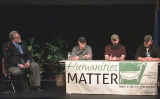 Veterans take part in a community discussion hosted by the Great Basin College Virtual Humanities Center. Image courtesy of the Center.