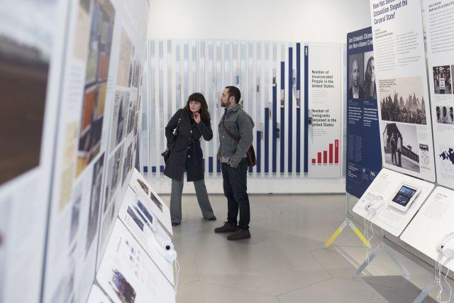 Visitors explore a States of Incarceration Exhibit. Image courtesy of States of Incarceration.