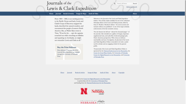 The Journals of the Lewis & Clark Expedition are a major project of the Center for Digital Research in the Humanities at the University of Nebraska. Image courtesy of the Center.