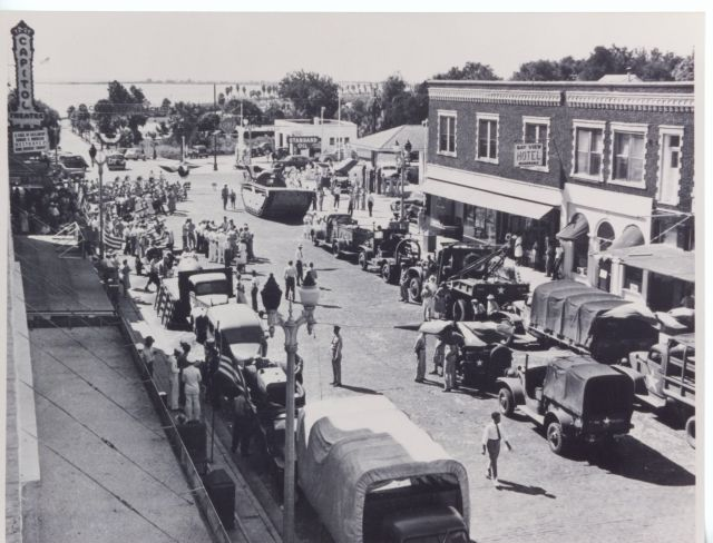 A photograph collected during a digitization day depicts an army convoy moving through the streets of Clearwater, Florida. Image courtesy of the Clearwater Public Library System.
