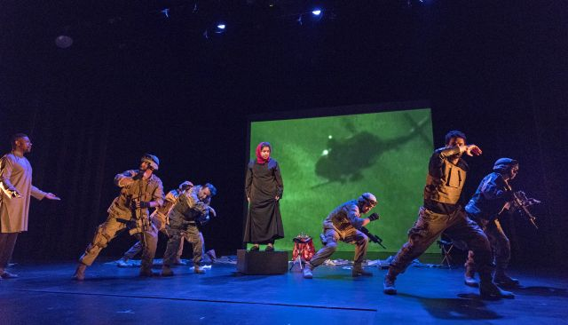 The New York Warrior Chorus performing Our Trojan War. Image courtesy of Richard Termine and Aquila Theatre.