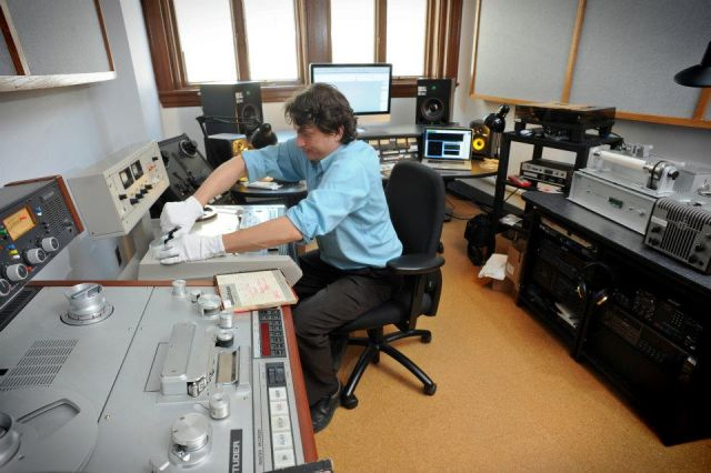 Audio engineer John Loy in the Southern Folklife Collection's John M. Rivers audio preservation studio. Image courtesy of the Southern Folklife Collection at the University of North Carolina, Chapel Hill.