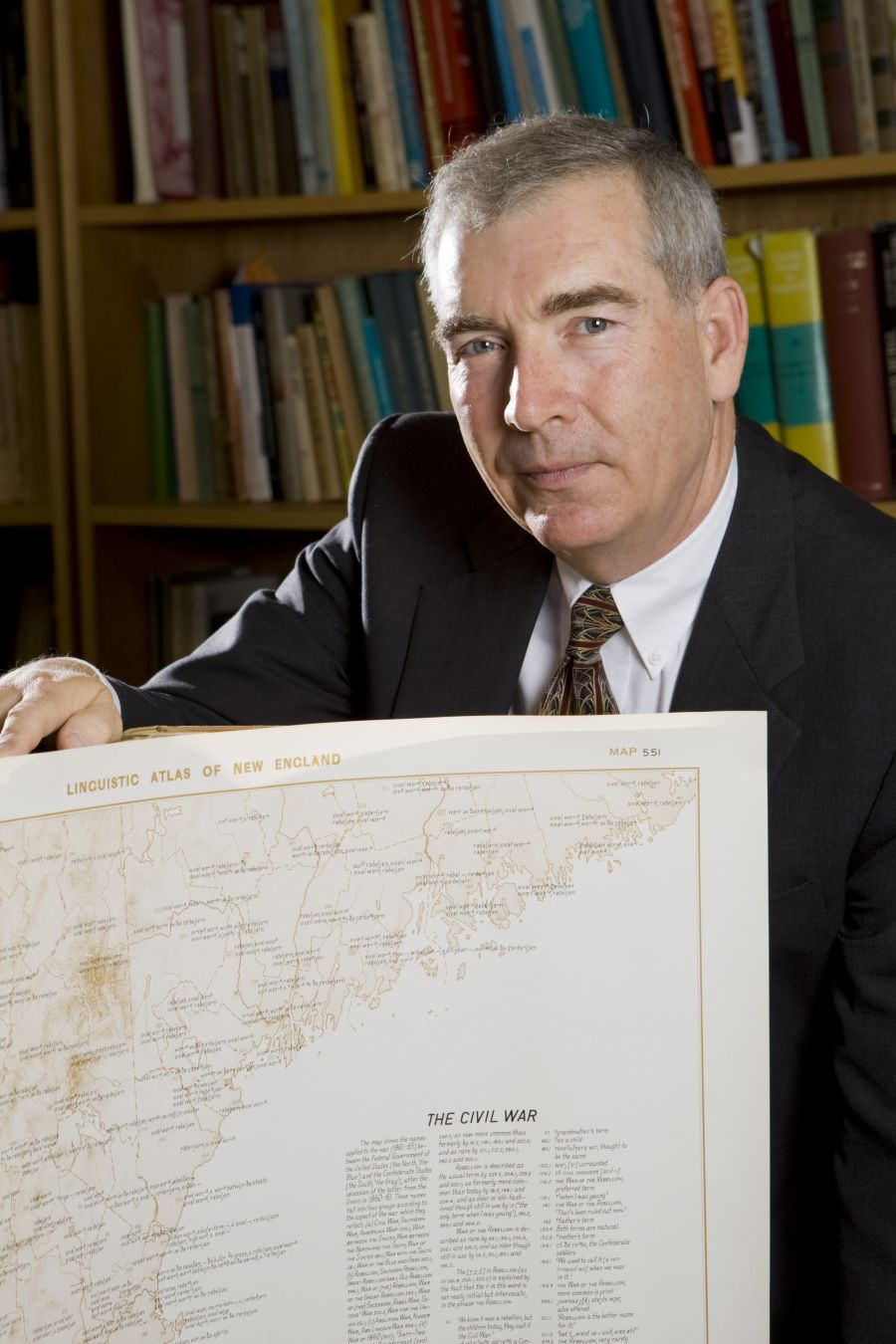 Bill Kretzschmar, editor of the Linguistic Atlas Project, holds a Linguistic Map of New England. In 2012, the University of Georgia recognized Kretzschmar's work on the LAP by presenting him with the Albert Christ-Janer Award for outstanding work in the humanities. Image courtesy of the Linguistic Atlas Project.