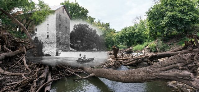 Cedar Point Mill in Cedar Point, Kansas, now and c. 1910. Image courtesy of the Chapman Center for Rural Studies.