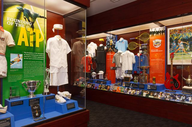 Archival collections preserved by the International Tennis Hall of Fame form the basis of exhibits on view in the Museum.  Image courtesy of the Tennis Hall of Fame Museum.