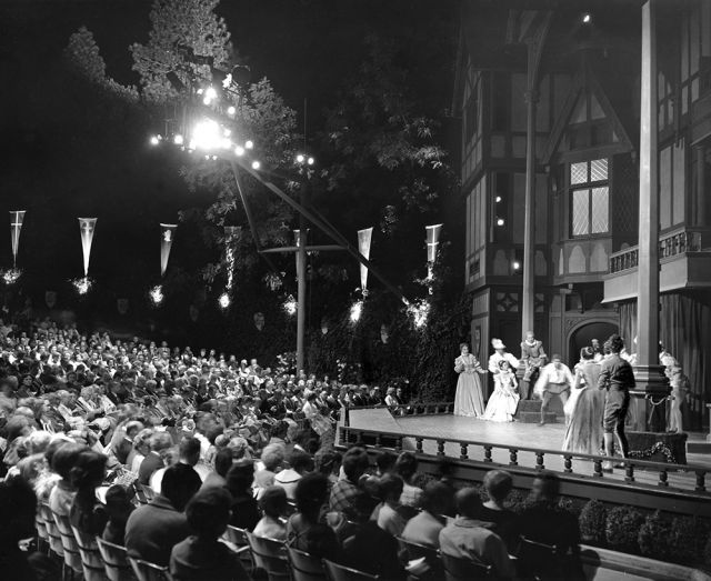 1962 production of *As You Like It*.  Ensemble.  Photo by Dwaine E. Smith. Property of the Oregon Shakespeare Festival.