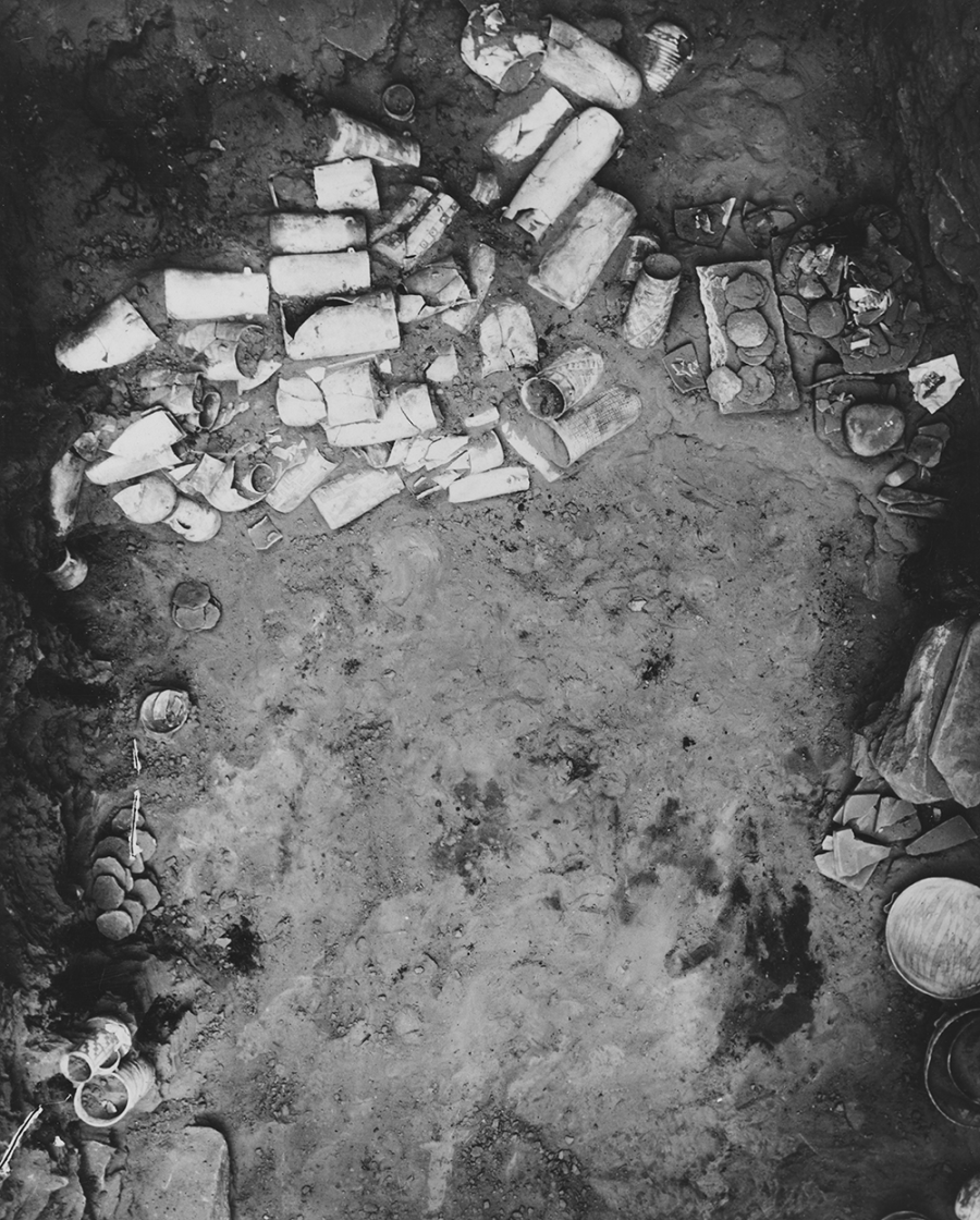 Cache of ceramic vessels on the floor of room 28 in Pueblo Bonito. Catalogue No. 88.42.14. Courtesy of the Maxwell Museum of Anthropology, University of New Mexico.